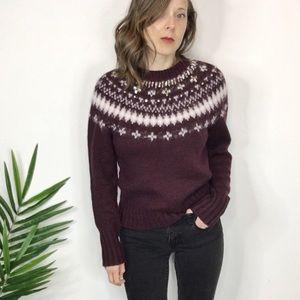 NWT. J. CREW Fair Aisle sweater purple gems 0294
